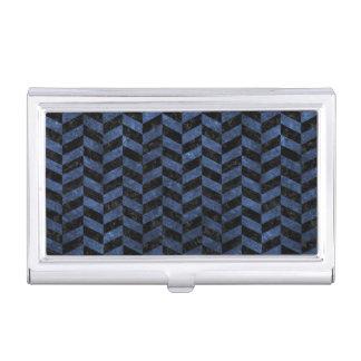 CHEVRON1 BLACK MARBLE & BLUE STONE BUSINESS CARD HOLDER