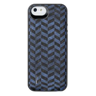 CHEVRON1 BLACK MARBLE & BLUE STONE iPhone SE/5/5s BATTERY CASE