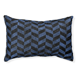 CHEVRON1 BLACK MARBLE & BLUE STONE PET BED