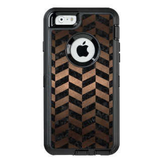 CHEVRON1 BLACK MARBLE & BRONZE METAL OtterBox DEFENDER iPhone CASE