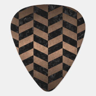 CHEVRON1 BLACK MARBLE & BRONZE METAL PLECTRUM