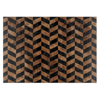 CHEVRON1 BLACK MARBLE & BROWN STONE CUTTING BOARD