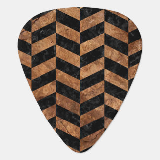 CHEVRON1 BLACK MARBLE & BROWN STONE GUITAR PICK