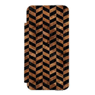 CHEVRON1 BLACK MARBLE & BROWN STONE INCIPIO WATSON™ iPhone 5 WALLET CASE