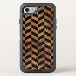 CHEVRON1 BLACK MARBLE & BROWN STONE OtterBox DEFENDER iPhone 8/7 CASE