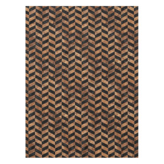 CHEVRON1 BLACK MARBLE & BROWN STONE TABLECLOTH
