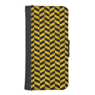 CHEVRON1 BLACK MARBLE & YELLOW MARBLE iPhone SE/5/5s WALLET CASE