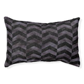 CHEVRON2 BLACK MARBLE & BLACK WATERCOLOR PET BED