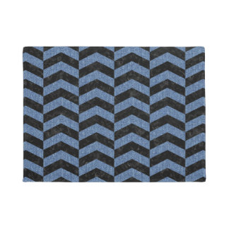 CHEVRON2 BLACK MARBLE & BLUE DENIM DOORMAT