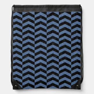 CHEVRON2 BLACK MARBLE & BLUE DENIM DRAWSTRING BAG