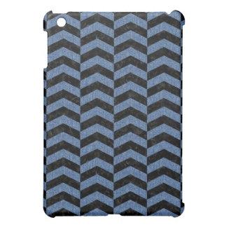CHEVRON2 BLACK MARBLE & BLUE DENIM iPad MINI COVER