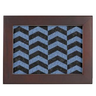CHEVRON2 BLACK MARBLE & BLUE DENIM KEEPSAKE BOX