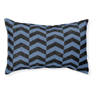 CHEVRON2 BLACK MARBLE & BLUE DENIM PET BED