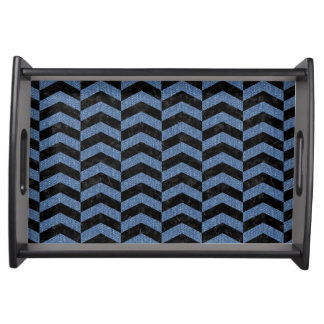 CHEVRON2 BLACK MARBLE & BLUE DENIM SERVING TRAY