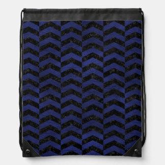 CHEVRON2 BLACK MARBLE & BLUE LEATHER DRAWSTRING BAG