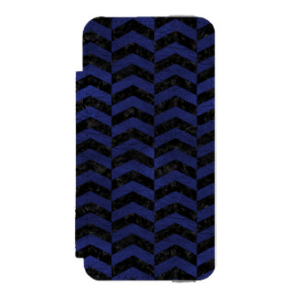 CHEVRON2 BLACK MARBLE & BLUE LEATHER INCIPIO WATSON™ iPhone 5 WALLET CASE