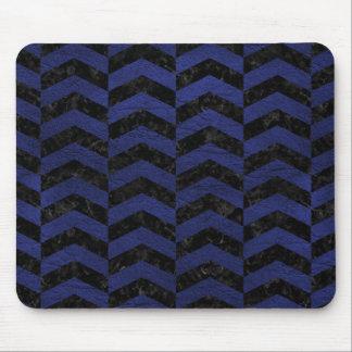 CHEVRON2 BLACK MARBLE & BLUE LEATHER MOUSE PAD