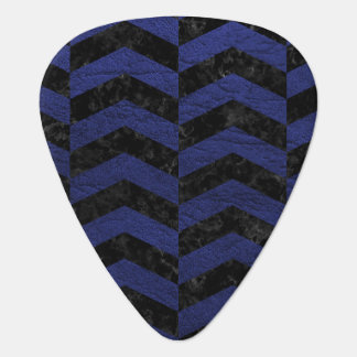 CHEVRON2 BLACK MARBLE & BLUE LEATHER PLECTRUM