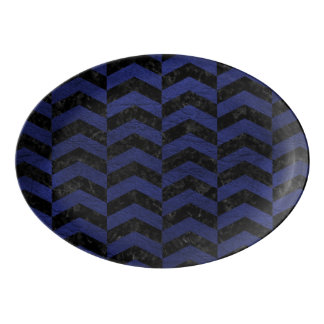 CHEVRON2 BLACK MARBLE & BLUE LEATHER PORCELAIN SERVING PLATTER