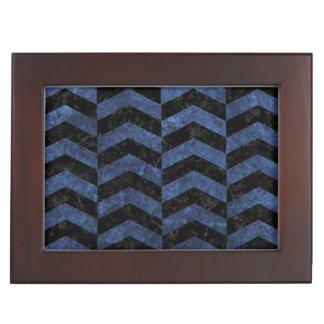 CHEVRON2 BLACK MARBLE & BLUE STONE KEEPSAKE BOX