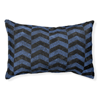 CHEVRON2 BLACK MARBLE & BLUE STONE PET BED