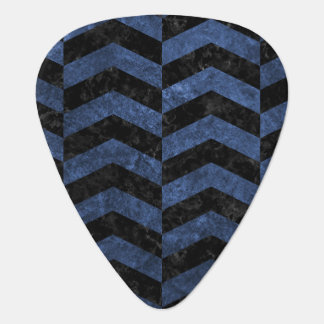 CHEVRON2 BLACK MARBLE & BLUE STONE PLECTRUM