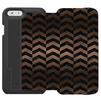 CHEVRON2 BLACK MARBLE & BRONZE METAL INCIPIO WATSON™ iPhone 6 WALLET CASE