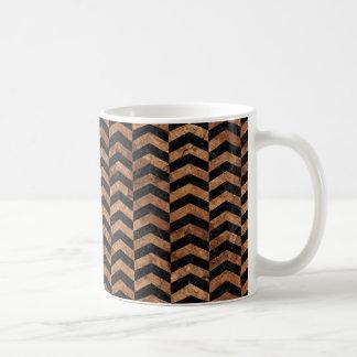 CHEVRON2 BLACK MARBLE & BROWN STONE COFFEE MUG