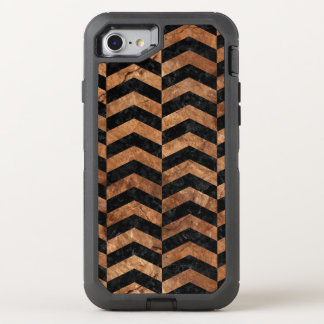 CHEVRON2 BLACK MARBLE & BROWN STONE OtterBox DEFENDER iPhone 8/7 CASE
