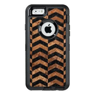 CHEVRON2 BLACK MARBLE & BROWN STONE OtterBox DEFENDER iPhone CASE