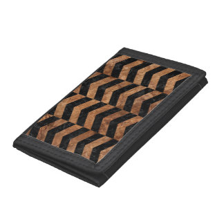 CHEVRON2 BLACK MARBLE & BROWN STONE TRI-FOLD WALLETS