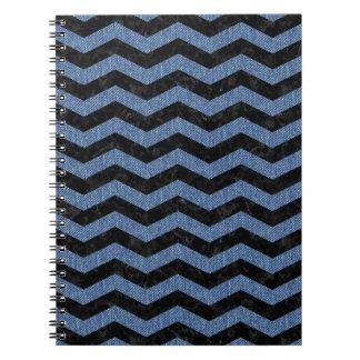 CHEVRON3 BLACK MARBLE & BLUE DENIM NOTEBOOK