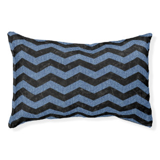 CHEVRON3 BLACK MARBLE & BLUE DENIM PET BED