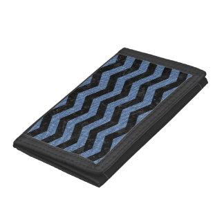 CHEVRON3 BLACK MARBLE & BLUE DENIM TRI-FOLD WALLET