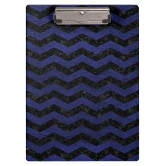 CHEVRON3 BLACK MARBLE & BLUE LEATHER CLIPBOARD