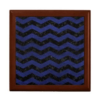 CHEVRON3 BLACK MARBLE & BLUE LEATHER GIFT BOX