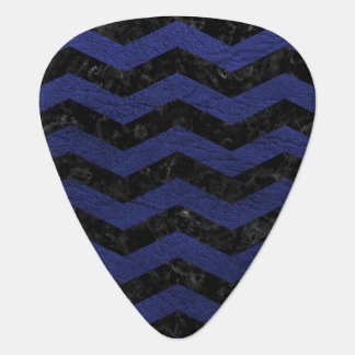 CHEVRON3 BLACK MARBLE & BLUE LEATHER GUITAR PICK