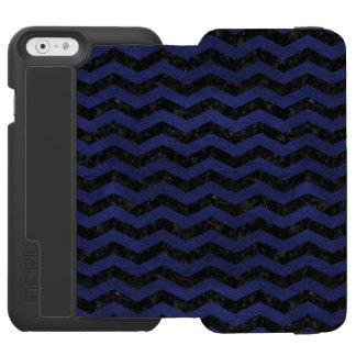 CHEVRON3 BLACK MARBLE & BLUE LEATHER INCIPIO WATSON™ iPhone 6 WALLET CASE