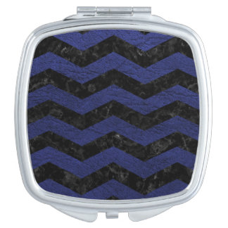 CHEVRON3 BLACK MARBLE & BLUE LEATHER MIRRORS FOR MAKEUP
