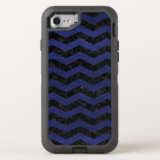 CHEVRON3 BLACK MARBLE & BLUE LEATHER OtterBox DEFENDER iPhone 8/7 CASE