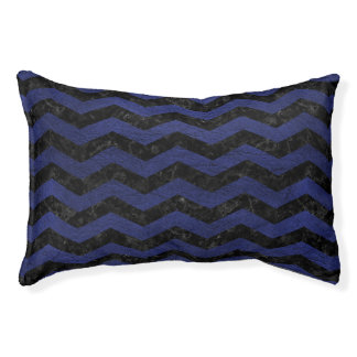 CHEVRON3 BLACK MARBLE & BLUE LEATHER PET BED