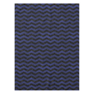 CHEVRON3 BLACK MARBLE & BLUE LEATHER TABLECLOTH