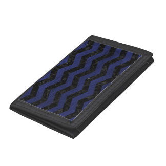 CHEVRON3 BLACK MARBLE & BLUE LEATHER TRI-FOLD WALLETS