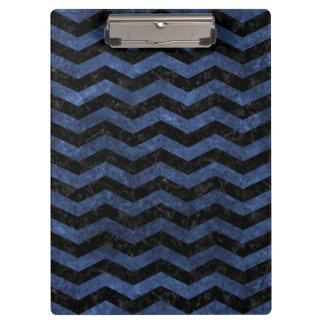 CHEVRON3 BLACK MARBLE & BLUE STONE CLIPBOARD