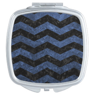 CHEVRON3 BLACK MARBLE & BLUE STONE COMPACT MIRRORS