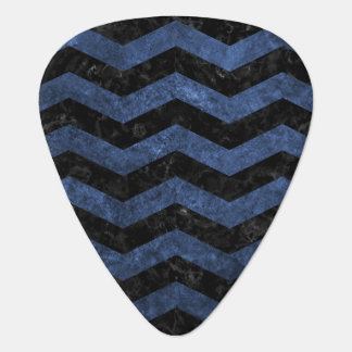 CHEVRON3 BLACK MARBLE & BLUE STONE GUITAR PICK