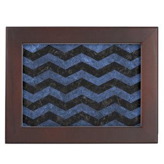 CHEVRON3 BLACK MARBLE & BLUE STONE KEEPSAKE BOX