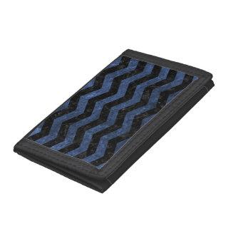 CHEVRON3 BLACK MARBLE & BLUE STONE TRI-FOLD WALLETS