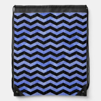 CHEVRON3 BLACK MARBLE & BLUE WATERCOLOR DRAWSTRING BAG