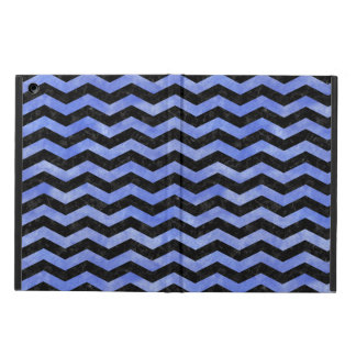 CHEVRON3 BLACK MARBLE & BLUE WATERCOLOR iPad AIR COVER